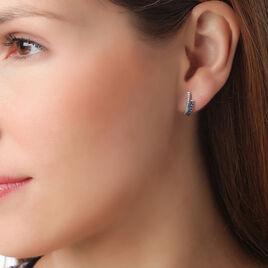 Boucles D'oreilles Puces Shina Or Blanc Saphir Et Diamant - Clous d'oreilles Femme | Histoire d'Or