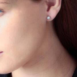 Boucles D'oreilles Puces Hapsatou Or Blanc Diamant - Clous d'oreilles Femme | Histoire d'Or