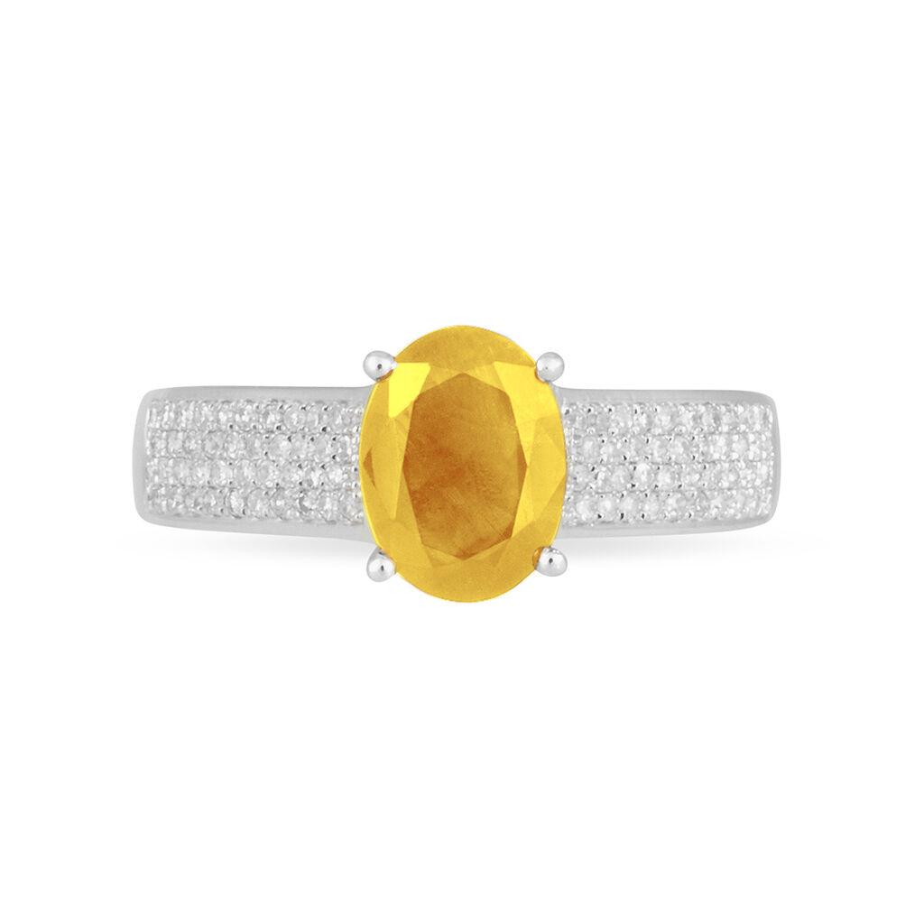 Bague Crista Or Blanc Citrine Et Diamant - Bagues avec pierre Femme   Histoire d'Or