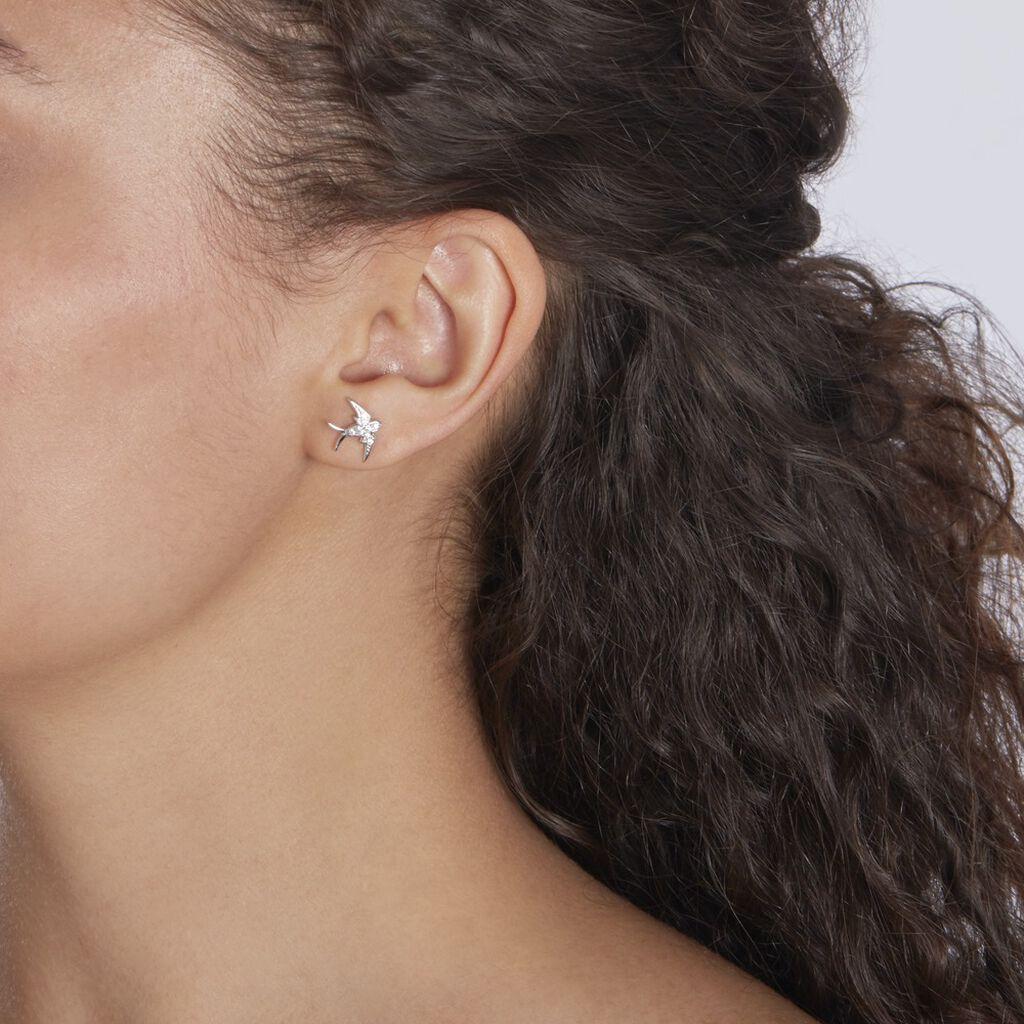 Boucles D'oreilles Puces Janea Argent Blanc Oxyde De Zirconium - Boucles d'oreilles fantaisie Femme   Histoire d'Or