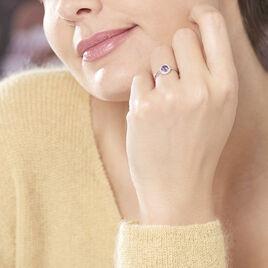 Bague Priscillya Or Blanc Amethyste Et Oxyde De Zirconium - Bagues avec pierre Femme | Histoire d'Or
