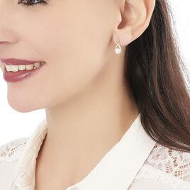 Boucles D'oreilles Pendantes Helin Or Jaune Perle De Culture Et Oxyde - Boucles d'oreilles pendantes Femme   Histoire d'Or