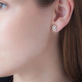 Boucles D'oreilles Puces Classical Plaque Or Jaune Oxyde De Zirconium - Boucles d'oreilles fantaisie Femme | Histoire d'Or