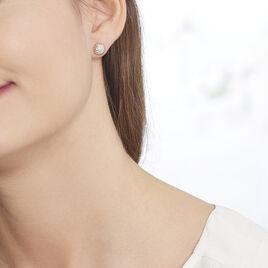 Boucles D'oreilles Puces Anne-laure Or Rose Diamant - Clous d'oreilles Femme   Histoire d'Or