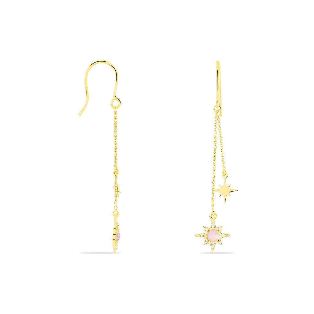 Boucles D'oreilles Pendantes Terrie Or Jaune Calcedoine Et Oxyde - Boucles d'Oreilles Etoile Femme   Histoire d'Or