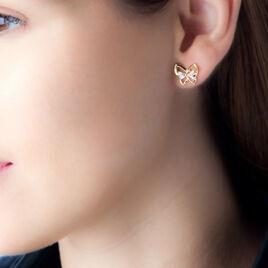 Boucles D'oreilles Plaque Or Jelissa Forme Papillon Oxyde - Boucles d'Oreilles Papillon Femme   Histoire d'Or