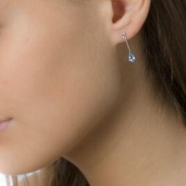 Boucles D'oreilles Pendantes Goutte Or Blanc Topaze - Boucles d'oreilles pendantes Femme | Histoire d'Or