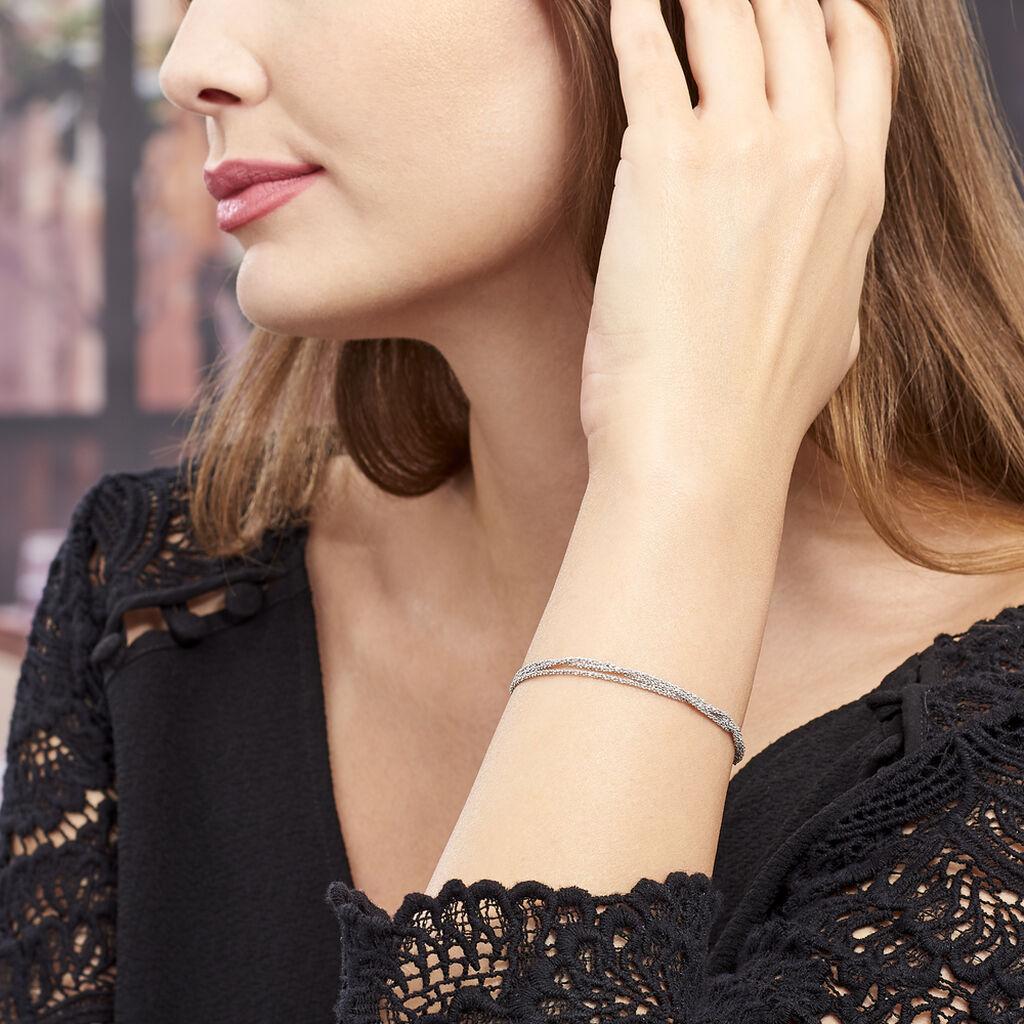 Bracelet Abie Torsade Argent Blanc - Bracelets fantaisie Femme | Histoire d'Or
