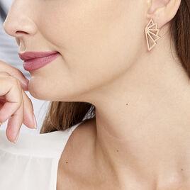 Boucles D'oreilles Pendantes Osaka Acier Rose - Boucles d'oreilles fantaisie Femme   Histoire d'Or