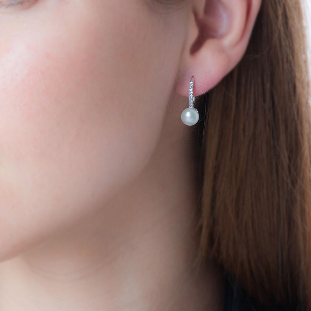 Boucles D'oreilles Pendantes Gwaldys Argent Perle De Culture Et Oxyde - Boucles d'oreilles fantaisie Femme | Histoire d'Or