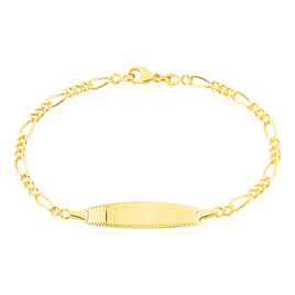 Bracelet Identité Bartolomee Maille Alternee 1/3 Or Jaune - Bracelets Communion Enfant   Histoire d'Or
