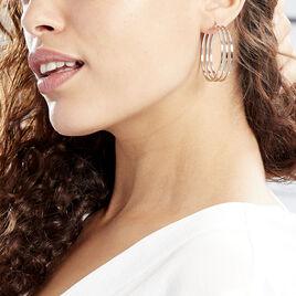Créoles Adel Acier Blanc - Boucles d'oreilles créoles Femme | Histoire d'Or