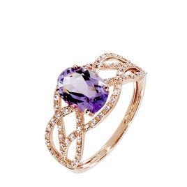 Bague Tina Or Rose Amethyste Et Diamant - Bagues avec pierre Femme | Histoire d'Or