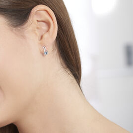 Boucles D'oreilles Puces Augusta Or Blanc Topaze Et Oxyde De Zirconium - Boucles d'Oreilles Infini Femme | Histoire d'Or