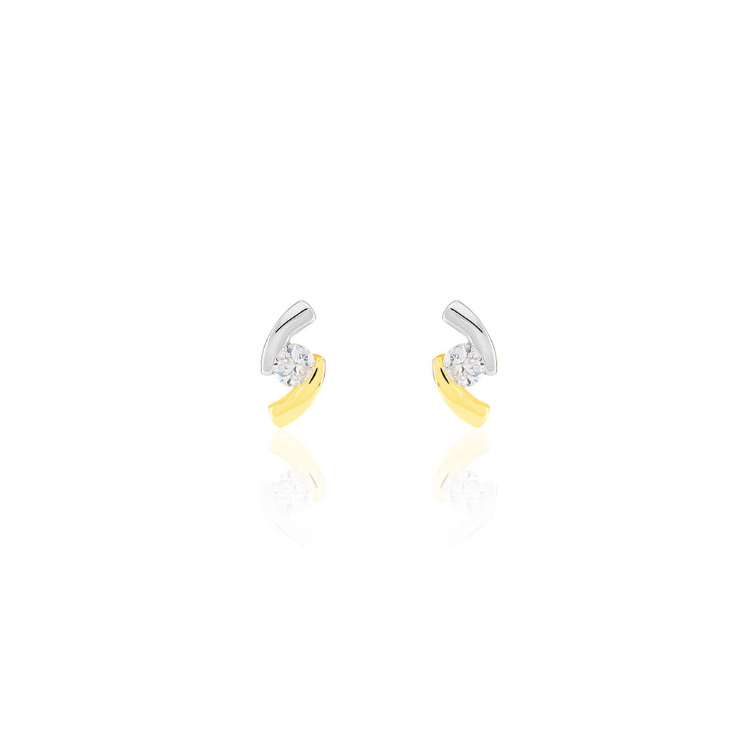 Boucles D'oreilles Pendantes Diamondae Or Bicolore Oxyde De Zirconium - Boucles d'oreilles pendantes Femme | Histoire d'Or