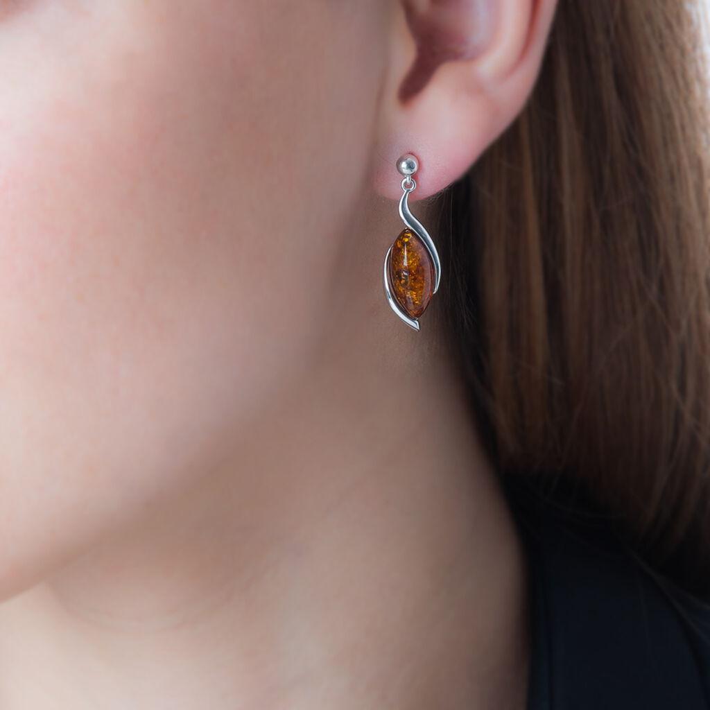 Boucles D'oreilles Pendantes Vyara Argent Blanc Ambre - Boucles d'oreilles fantaisie Femme | Histoire d'Or