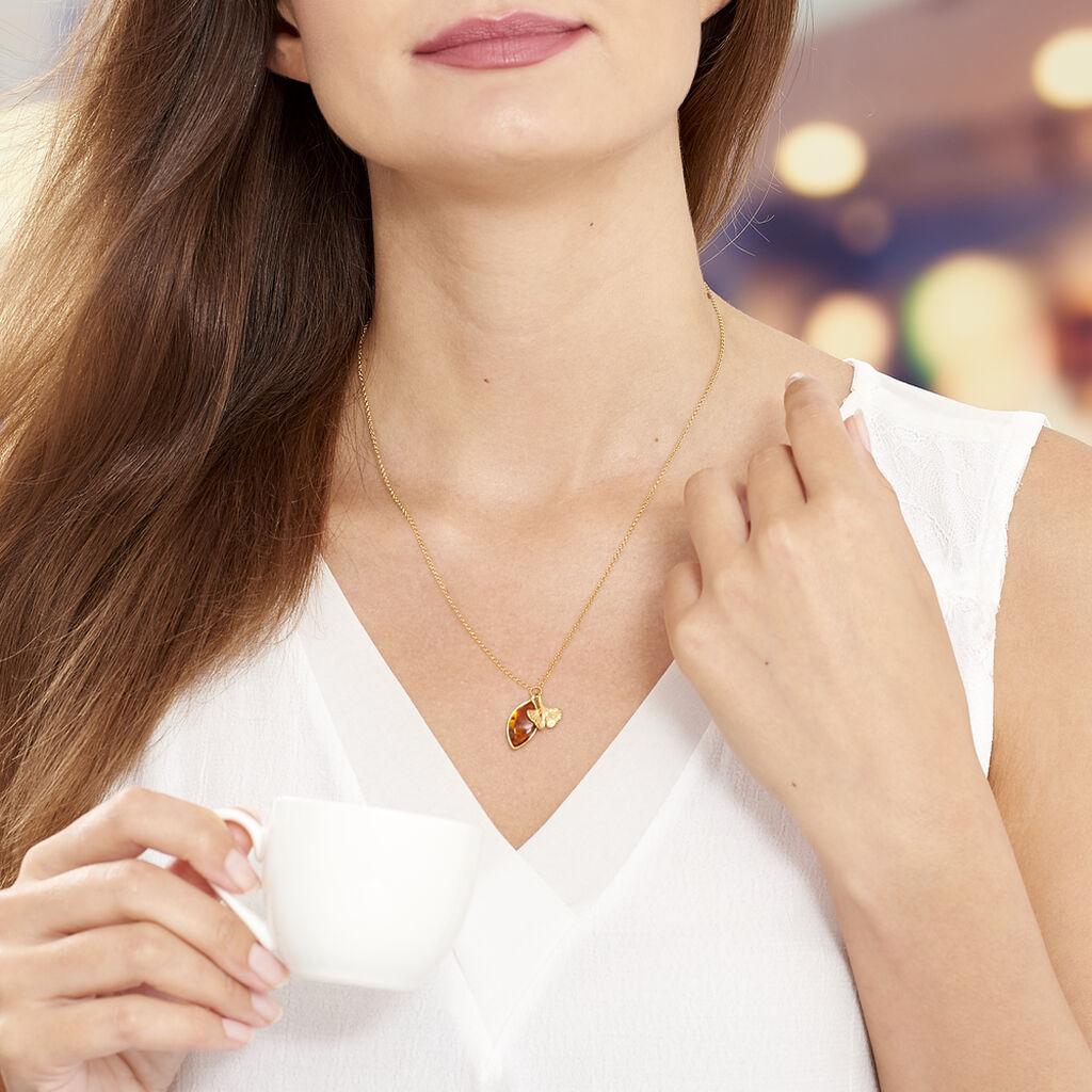 Collier Adriaa Argent Jaune Ambre - Colliers fantaisie Femme | Histoire d'Or