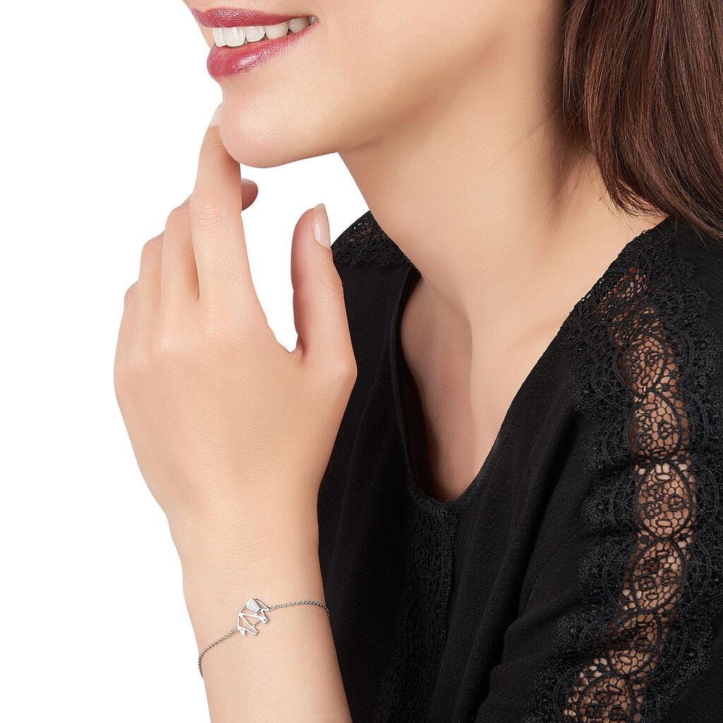 Bracelet Origami Argent Blanc Oxyde De Zirconium - Bracelets fantaisie Femme | Histoire d'Or