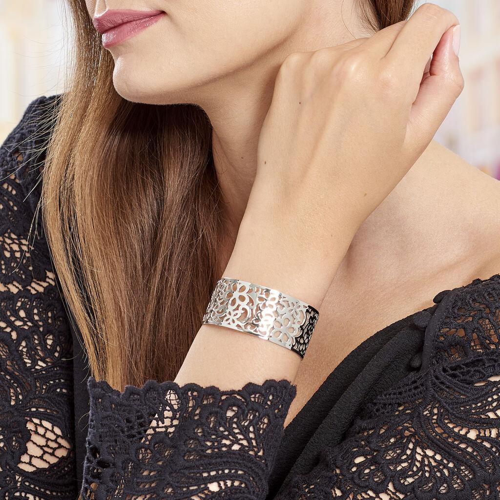 Manchette Acier Fleurs Ajourees - Bracelets fantaisie Femme | Histoire d'Or