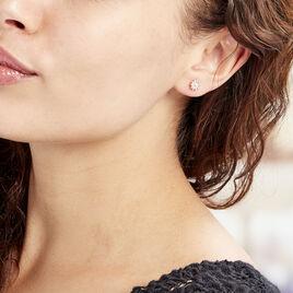 Boucles D'oreilles Puces Brigit Argent Rose Oxyde De Zirconium - Boucles d'oreilles fantaisie Femme | Histoire d'Or