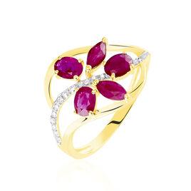 Bague Orchidee Or Bicolore Rubis Diamant - Bagues avec pierre Femme | Histoire d'Or
