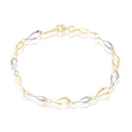 Bracelet Aaron Maille Fantaisie Or Bicolore - Bijoux Femme   Histoire d'Or