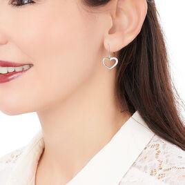 Boucles D'oreilles Pendantes Oflaz Argent Blanc Oxyde De Zirconium - Boucles d'Oreilles Coeur Femme   Histoire d'Or