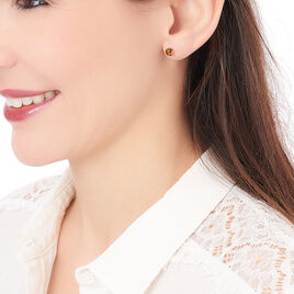 Boucles D'oreilles Argent Puces Ambre Ronde - Boucles d'oreilles fantaisie Femme | Histoire d'Or