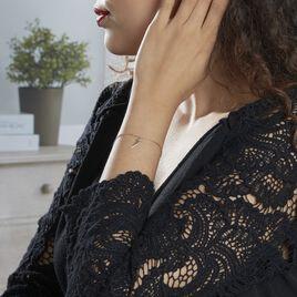 Bracelet Rafia Plaque Or Jaune - Bracelets fantaisie Femme   Histoire d'Or