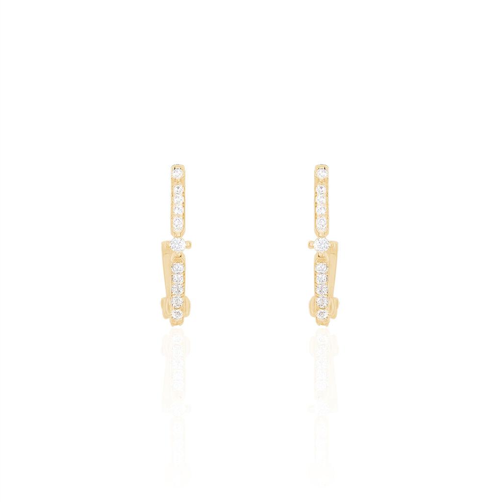 Créoles Zabrina Plaque Or Jaune Oxyde De Zirconium - Boucles d'oreilles créoles Femme | Histoire d'Or