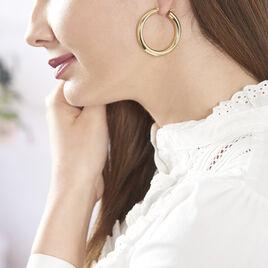 Créoles Amael Acier Jaune - Boucles d'oreilles créoles Femme | Histoire d'Or