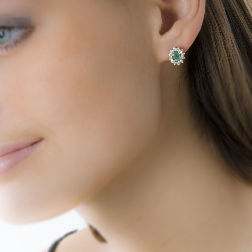 Boucles D'oreilles Puces Vladimir Or Jaune Emeraude Et Diamant - Clous d'oreilles Femme   Histoire d'Or
