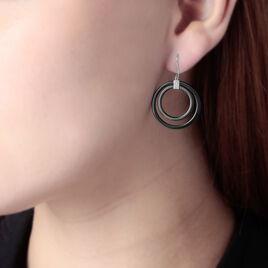 Boucles D'oreilles Puces Loganne Or Blanc Diamant Et Céramique - Boucles d'oreilles pendantes Femme   Histoire d'Or