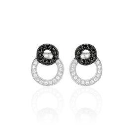 Boucles D'oreilles Puces Diana Argent Blanc Oxyde De Zirconium - Boucles d'oreilles fantaisie Femme   Histoire d'Or