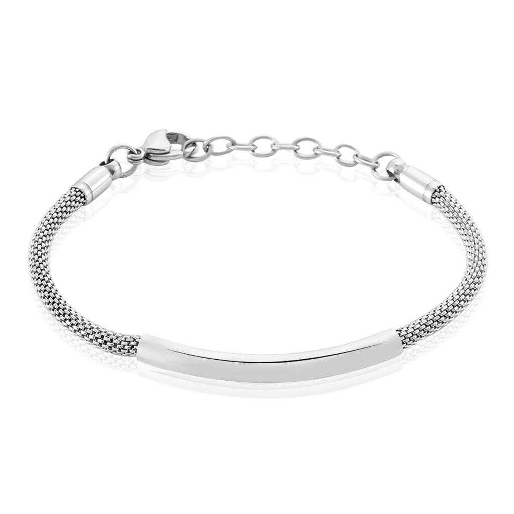 Bracelet Aedan Maille Popcorn Acier Blanc - Bracelets fantaisie Femme | Histoire d'Or