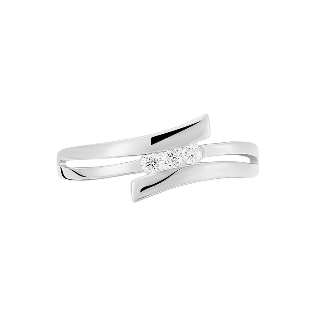 Bague Triptyque Or Blanc Diamant - Bagues avec pierre Femme | Histoire d'Or