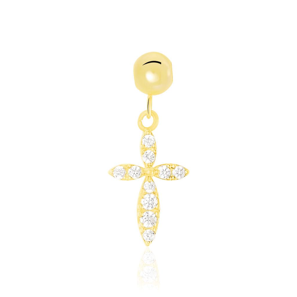 Charms Libertad Or Jaune Oxyde De Zirconium - Pendentifs Croix Femme | Histoire d'Or