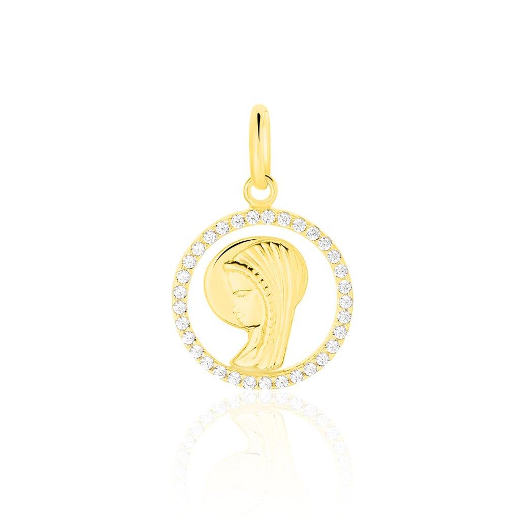 Pendentif Vierge Rond Diamante Or Jaune Oxyde De Zirconium - Bijoux Vierge Unisexe   Histoire d'Or