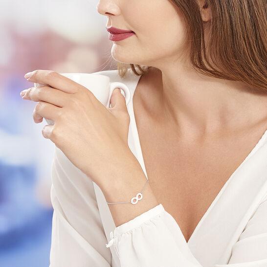 J.End/éar Bracelet Infini pour Femmes Filles Or Rose 925 Argent Sterling Bracelet Tress/é /à La Main avec Cha/îne Multicolore et R/églable Infinity Breloque Bracelet Fil 16+8cm