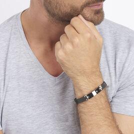 Bracelet Sane Acier Noir Diamant Et Céramique - Gourmettes Homme | Histoire d'Or