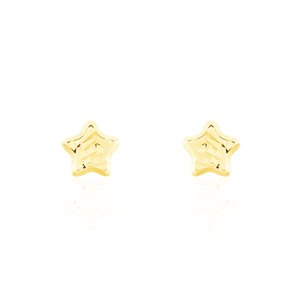 Boucles D'oreilles Puces Arisaema Etoile Or Jaune - Boucles d'Oreilles Etoile Enfant | Histoire d'Or