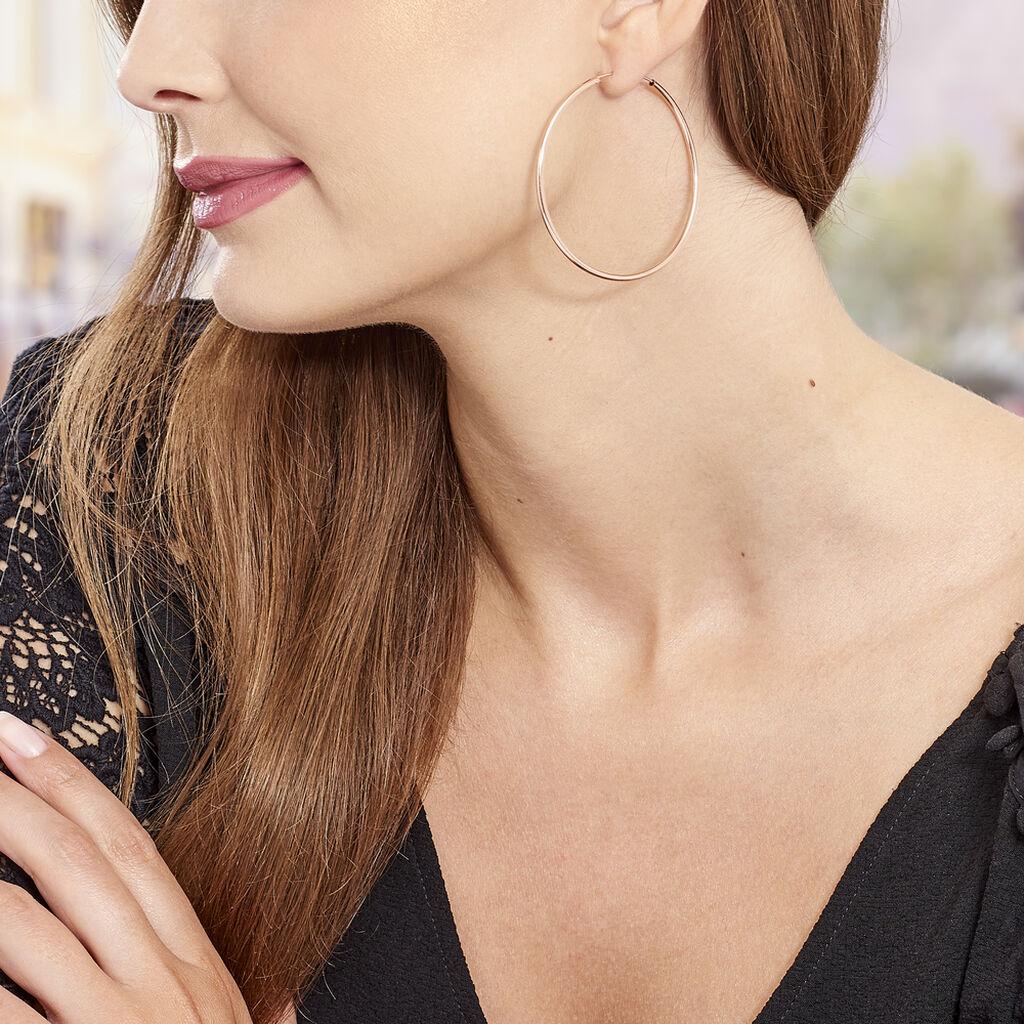 Créoles Abeline Flexible Argent Rose - Boucles d'oreilles créoles Femme   Histoire d'Or