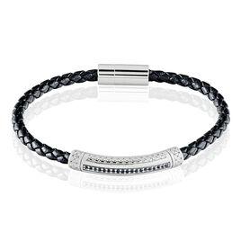Bracelet Steph Acier Blanc Oxyde Noir - Bracelets fantaisie Homme   Histoire d'Or