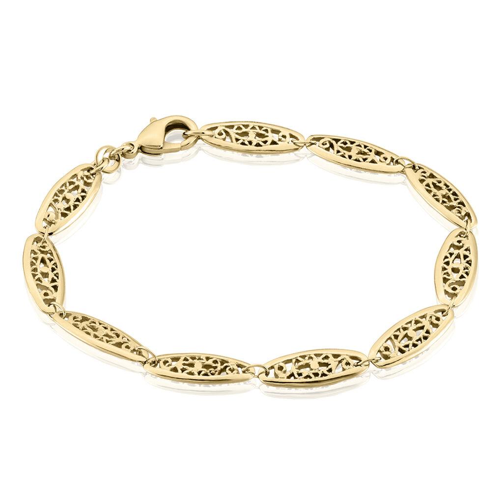 Bracelet Kathlyne Maille Filigrane Plaque Or Jaune - Bracelets chaîne Femme   Histoire d'Or