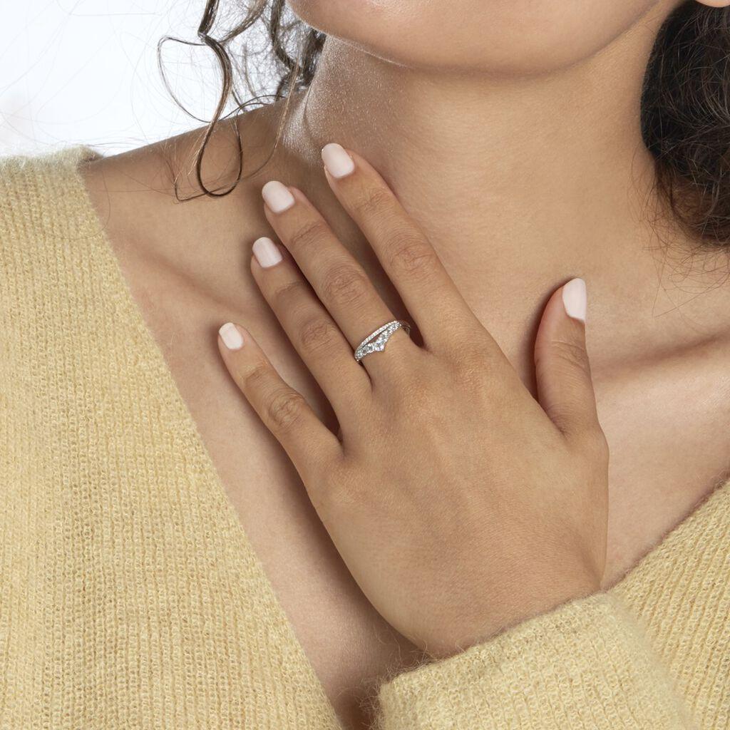 Bague Marine Or Blanc Topaze - Bagues avec pierre Femme   Histoire d'Or