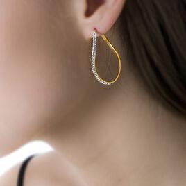 Créoles Tayaae Rondes Or Jaune Pierre De Synthese - Boucles d'oreilles créoles Femme | Histoire d'Or