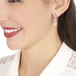 Boucles D'oreilles Pendantes Angie Argent Blanc Oxyde De Zirconium - Boucles d'oreilles fantaisie Femme   Histoire d'Or