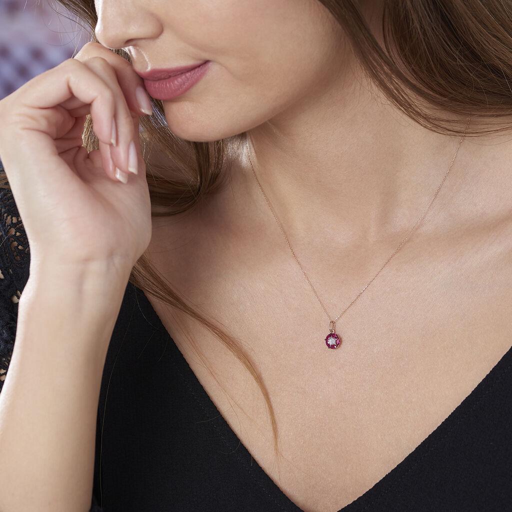 Collier Milana Or Rose Rubis Et Diamant - Bijoux Femme | Histoire d'Or