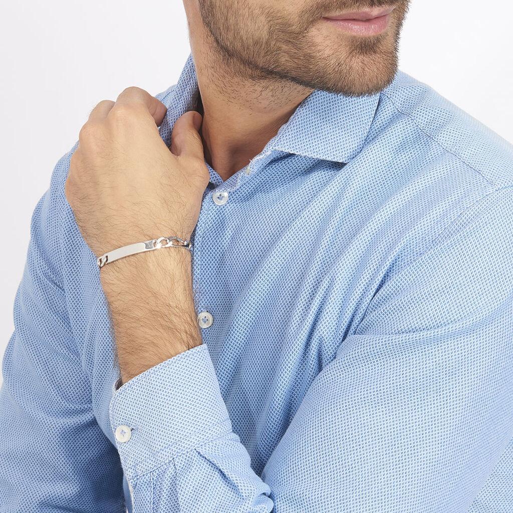 Bracelet Identité Vivian Maille Alternee 1/3 Argent Blanc - Gourmettes Homme | Histoire d'Or