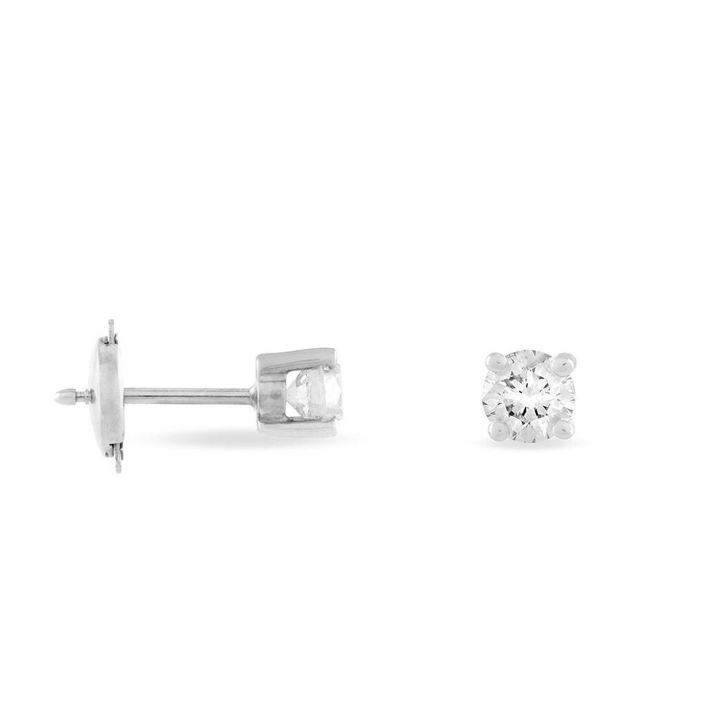 Boucles D'oreilles Puces Clavie Or Blanc Diamant - Clous d'oreilles Femme   Histoire d'Or
